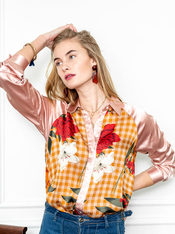 Womens Blush Floral Multi The Signature Shirt in Burgundy Blossoms