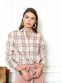 Womens Blush Plaid The Icon Shirt in Blush Plaid 2