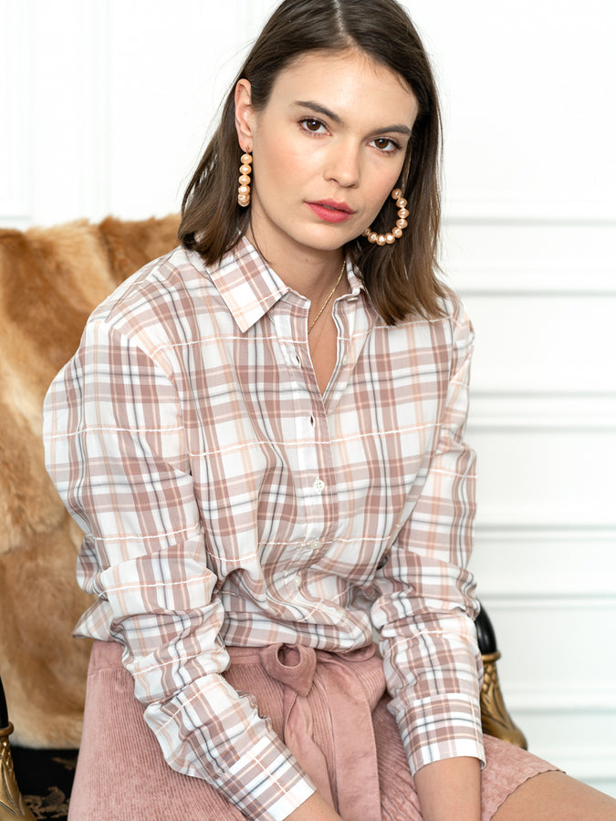Womens Blush Plaid The Icon Shirt in Blush Plaid