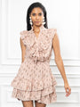 Womens Blush The Sleeveless Ruffled Mini Shirt Dress