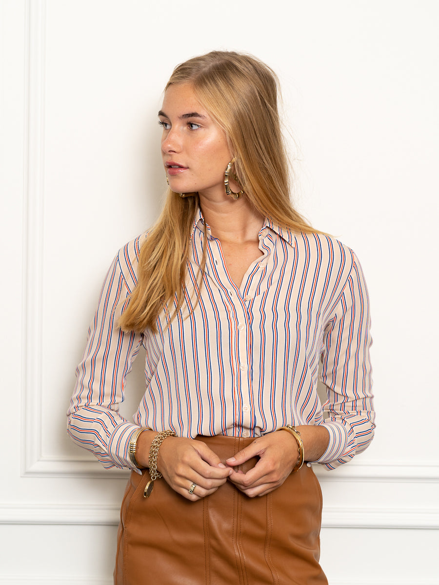 Womens Blush The Signature Shirt in Blush Stripe 2