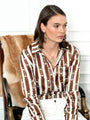 Womens Brown/Cream The Signature Shirt in Horsebit