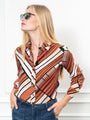Womens Brown Geo Print The Signature Shirt in Brown Geo Print