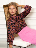 Womens Brown/Neon The Bow Tie Shirt in Pink Civet