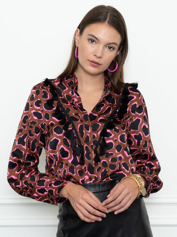 Womens Brown/Neon The Signature Shirt in Pink Civet w/ Tassels
