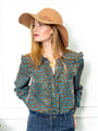 Womens Brown/Turquoise The Josephine Shirt