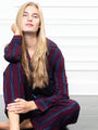 Womens Burgundy/Navy/Gold Lurex The Long Sleeve Pajama Set 2