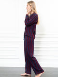 Womens Burgundy/Navy/Gold Lurex The Long Sleeve Pajama Set 4