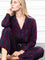 Womens Burgundy/Navy/Gold Lurex The Long Sleeve Pajama Set
