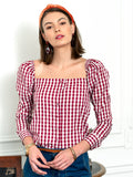 Womens Burgundy/White Check The Square Neck Shirt 2