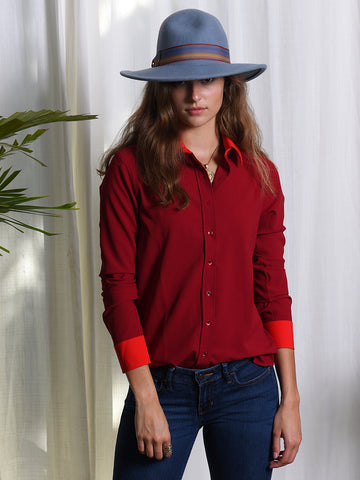 Womens Burgundy The Signature Shirt with Contrasting Trim