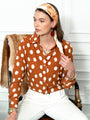 Womens Cognac/White Dots The Signature Shirt Seventies Collection 2