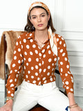 Womens Cognac/White Dots The Signature Shirt Seventies Collection 4