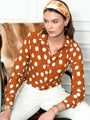 Womens Cognac/White Dots The Signature Shirt Seventies Collection