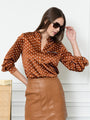 Womens Cognac The Signature Shirt in Cognac Dots