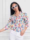 Womens Colorful Hearts  The Boyfriend Shirt in Colorful Hearts 6