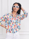 Womens Colorful Hearts  The Boyfriend Shirt in Colorful Hearts 7