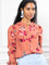 Womens Coral The Ruffled Front Shirt in Coral with Burgundy Flowers