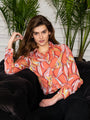 Womens Coral multi The Signature Shirt in Falling Blossom