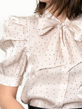 Womens Cream/Black Dots The French Bow Shirt 6