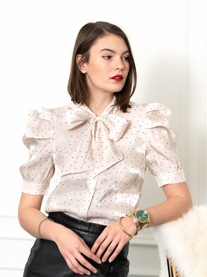 Womens Cream/Black Dots The French Bow Shirt
