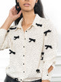 Womens Cream/Black The Signature Shirt with Velvet Bows 2