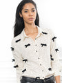 Womens Cream/Black The Signature Shirt with Velvet Bows