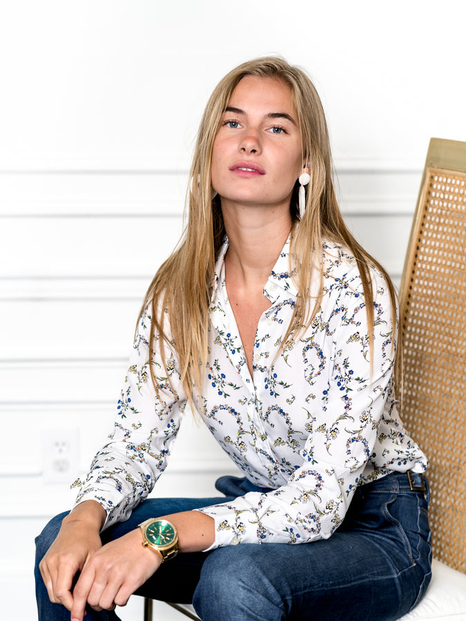 Womens Cream/Blue Multi The Signature Shirt in Blue Garlands