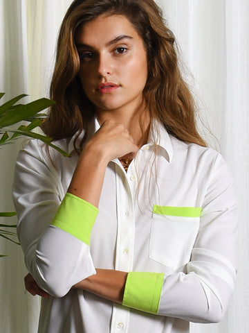 Womens Cream/Lime The Signature Shirt with Contrasting Trim 2