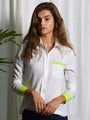 Womens Cream/Lime The Signature Shirt with Contrasting Trim
