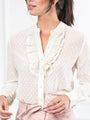 Womens Cream Swiss Dot The Ruffled Shirt 2
