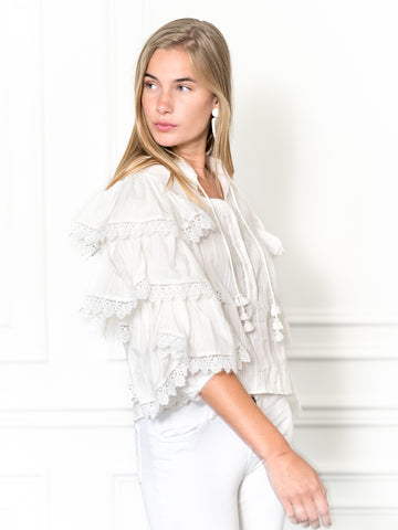 Womens Cream The Cream Tiered Sleeve Shirt w/ Crochet Trim