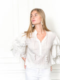 Womens Cream The Cream Tiered Sleeve Shirt w/ Crochet Trim 4