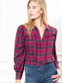 Womens Crimson The Plaid Flannel Puffed Shoulder Shirt in Hot Pink/Crimson 2