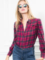 Womens Crimson The Plaid Flannel Puffed Shoulder Shirt in Hot Pink/Crimson