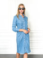 Womens Denim The Ruched Shirtdress