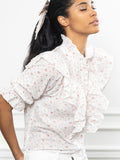 Womens Ditsy Pink The Jill Ruffle Shirt 4