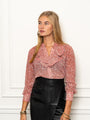 Womens Dusty Rose Floral The Ruffled Neck Shirt 2