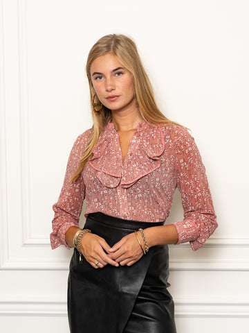Womens Dusty Rose Floral The Ruffled Neck Shirt