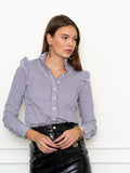 Womens Eggplant/White The Ruffle Collar Shirt