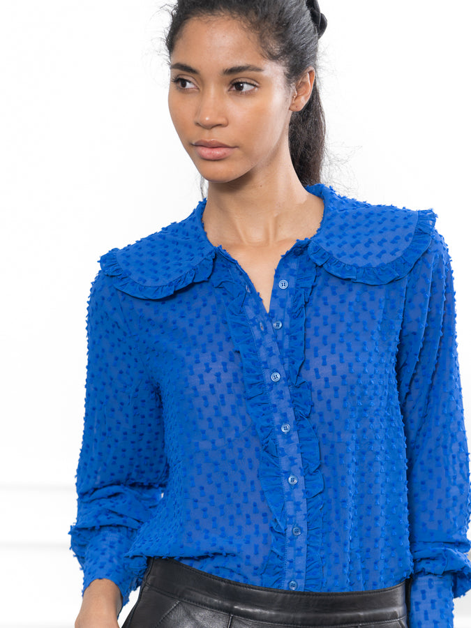 Womens Electric Blue Swiss Dot The Josephine Shirt in Electric Blue Swiss Dot