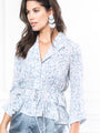 Womens Feather Print The Juliet Shirt w/ tied waist 2