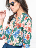 Womens Green Floral Watercolor The Signature Shirt in Green Floral Watercolor