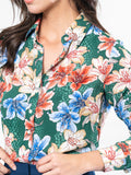 Womens Green Floral Watercolor The Signature Shirt in Green Floral Watercolor 4