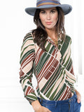 Womens Green Geometric The Signature Shirt in  Green Geometric