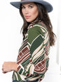 Womens Green Geometric The Signature Shirt in  Green Geometric 2