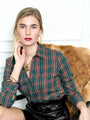 Womens Green/Orange Plaid The Icon Shirt in Green/Orange Plaid