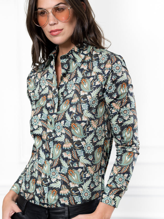 Womens Green Paisley The Icon Shirt in Green Paisley