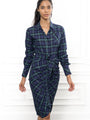 Womens Green plaid The Wrap Front Dress 2