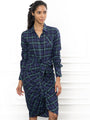 Womens Green plaid The Wrap Front Dress